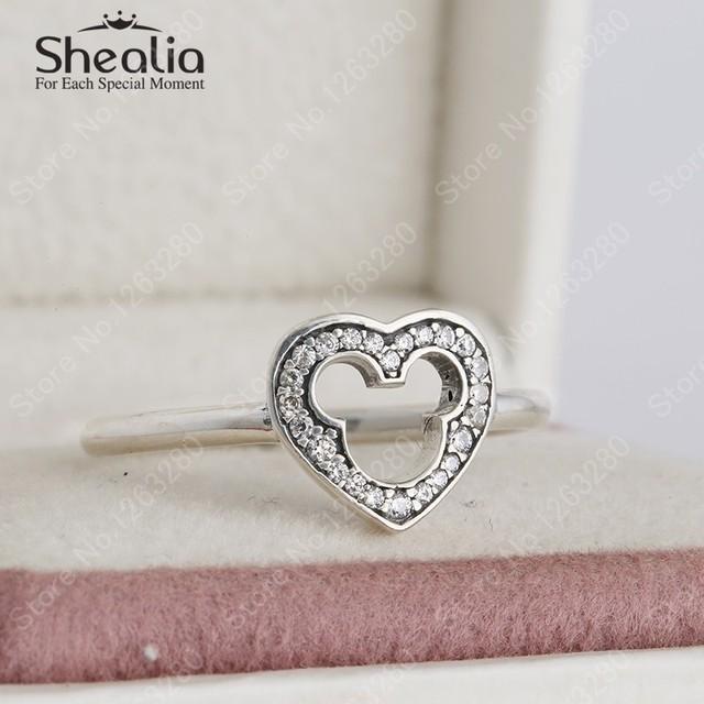 2015 новый стерлингового серебра 925 вымощают CZ микки маус в форме сердца кольца для женщин с ааа цирконий классический мультфильм в форме сердца ну вечеринку кольца
