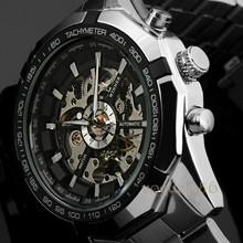 WINNER Relojes Watches Branded Mens Classic Stainless Steel Self Wind Skeleton Mechanical Watch Fashion Cross Wristwatch
