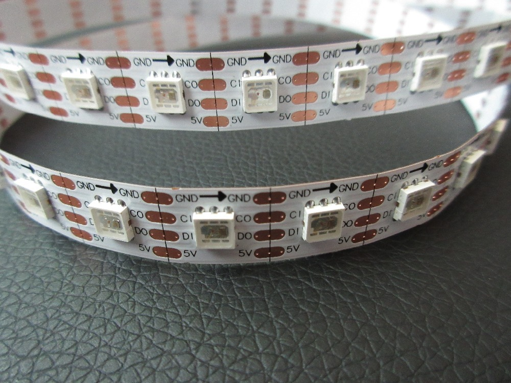 IP67 5M 5050 Magic Color LED Strip DC5V White PCB APA102 60LEDs/m replace WS2801 IC built-in the 5050 SMD RGB LED Strips(China (Mainland))
