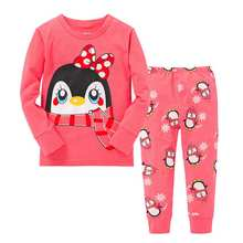 2016 new Children pajamas lovely heart and animals Cartoon popular girls clothing toddler girls cute pajamas for girls kids(China (Mainland))