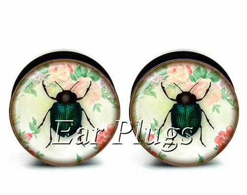 Free shipping!Pair sale acrylic bug screw on ear plug gauges tunnel ear expander 10 sizes NPS0163(China (Mainland))
