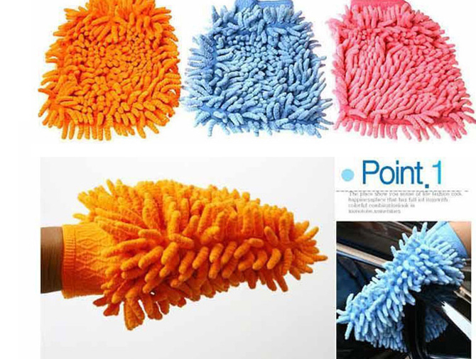 Chenille double faced wipe car gloves cleaning cloth dust gloves double faced clean gloves(China (Mainland))