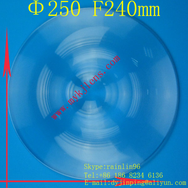 Fresnel lens Diameter 250 focal length240mm  stage lighting condenser lens thread,magnify lens,traffic light fresnel lens