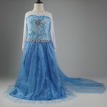Long Frozen dress,Kids baby girls Elsa Anna beautiful princess Dress, girls casual dress,girls party dress,children cothing