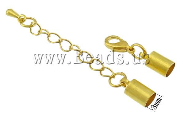 Free shipping!!!Brass Lobster Claw Cord Clasp,Designs, with 2Inch extender chain, gold color plated, nickel