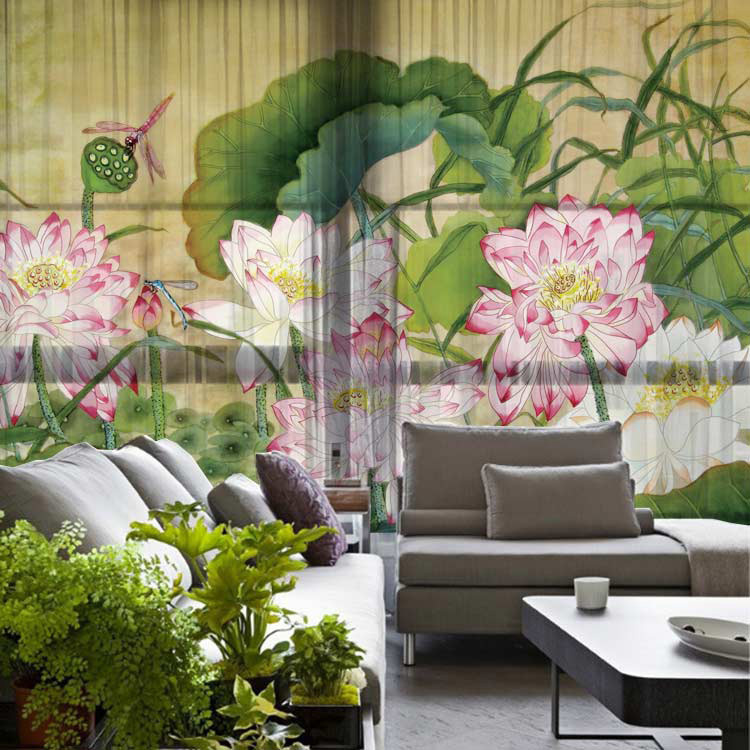 lotus flower print home decoration blackout rustic style