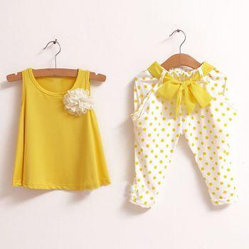 Новый 2015 детская одежда летний комплект ребенок цветок женский жилет горошек шаровары дети одежда девочки комплект одежды