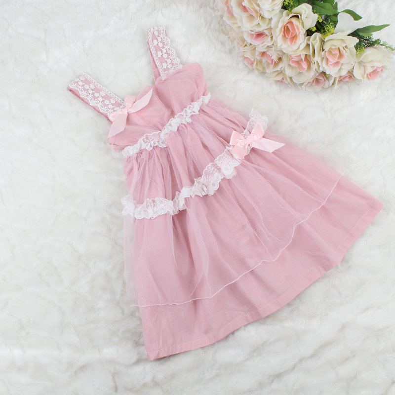 Wholesale Childrens Girls Beach Dress Bow Baby Girl Birthday Lace Dress Infant Dresses Kids Clothes 5pieces/lot Free Shipping<br><br>Aliexpress