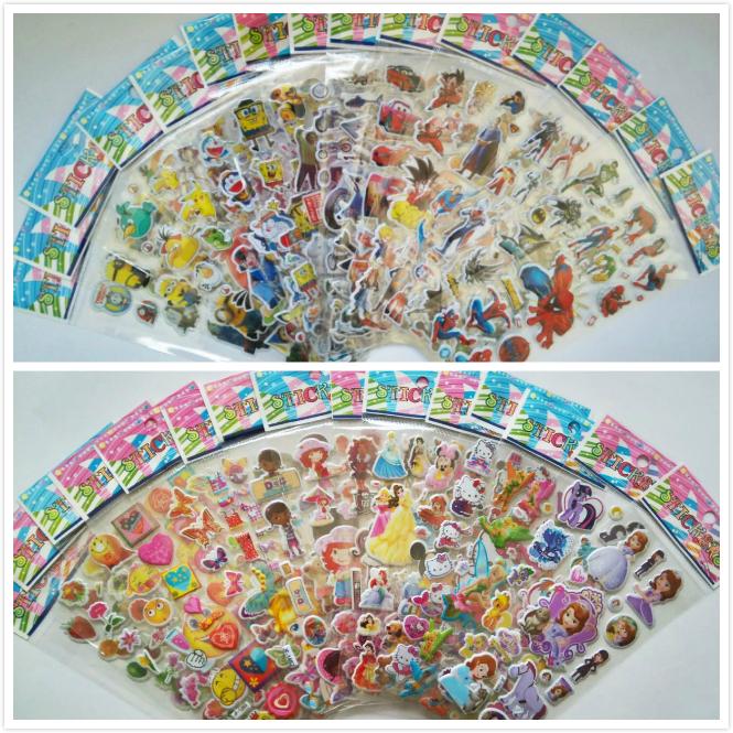100 Sheets/Set Mixed 3D Foam Cartoon Kids Cute Stickers Puffy Stickers Children DIY Toys Girls/Boys Birthday Christmas Gift(China (Mainland))