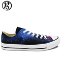 Christmas Birthday Gifts Hand Painted Art Blue Galaxy Purplish Red Nebula Low Top Canvas Shoes Womens