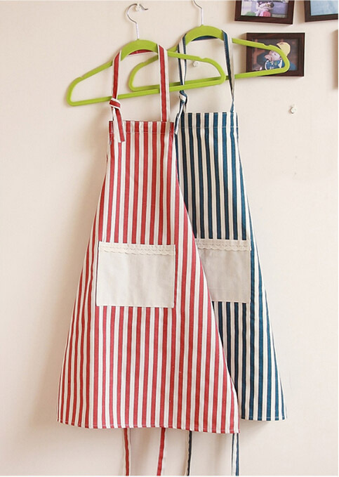 Fashion couples kitchen cooking apron tablier with pocket waterproof oil-proof floral Household work stripe free shipping(China (Mainland))