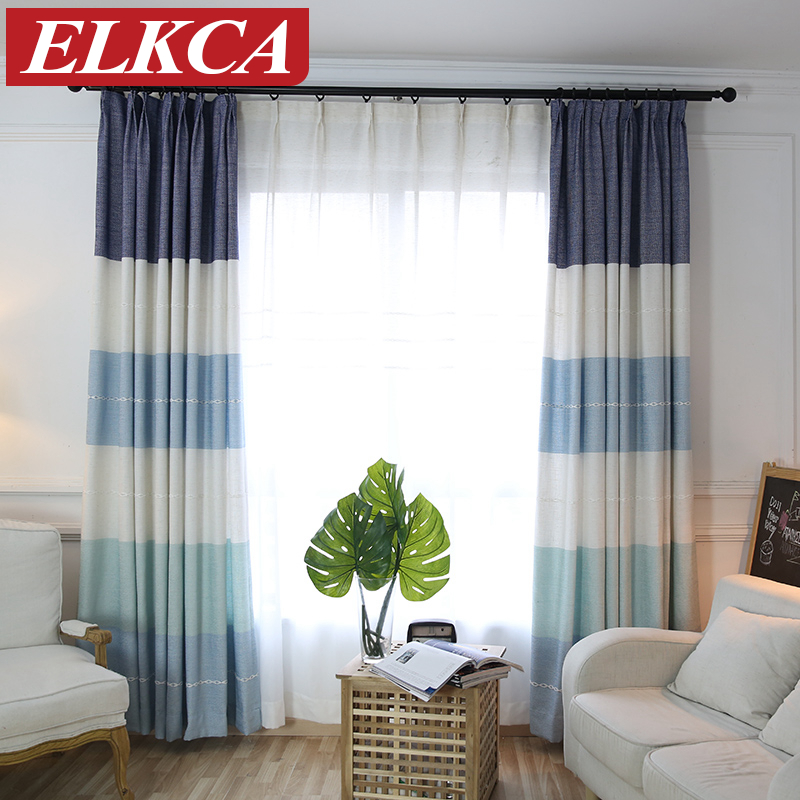 Online get cheap curtain horizontal stripe for Rideaux pour salon moderne