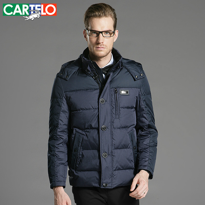 CARTELO/Brand 90% Duck Fine Grid Slim Men Business Middle-aged Men Thick Down Jacket S-XXXL Coat For Men(China (Mainland))