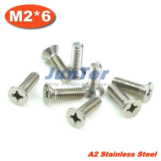 1000pcs/lot DIN965 M2*6mm Stainless Steel A2 Machine Phillips Flat Head (Cross recessed countersunk head screws) Screw<br><br>Aliexpress