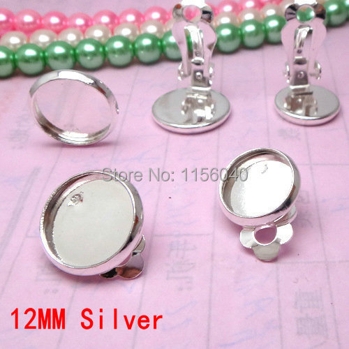 Free Shipping,HOT SALE 12MM Round Silver Plated Copper Ear Clip,fit 12MM glass cabochons,buttons,earring bezels/base,30pcs/lot(China (Mainland))