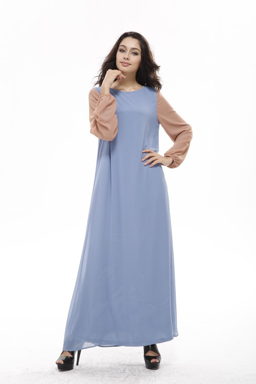 2016 New Marocain Ribbons Real Clothing Muslim Women Long-sleeved Hit color Dress Models Female Arab Islam Abaya Dresses W146(China (Mainland))