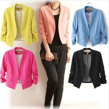 2015 новое поступление весна-осень модный повседневный блейзер для женщин конфетного цвета, женское приталенное одноцветное пальто с пышными рукавами, блейзеры, базовые жакеты