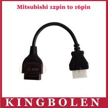 Factory Price MITSUBISHI 12 Pin to OBD OBD2 OBDII DLC 16 Pin 16Pin Female Car Diagnostic Tool Adapter(China (Mainland))