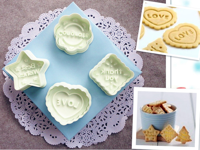 4pcs/Set Holiday Cookie Cutter Plunger Round Flower Heart and Star Shape Plastic Biscuit Mold Fondant Cake Baking Set GH016(China (Mainland))