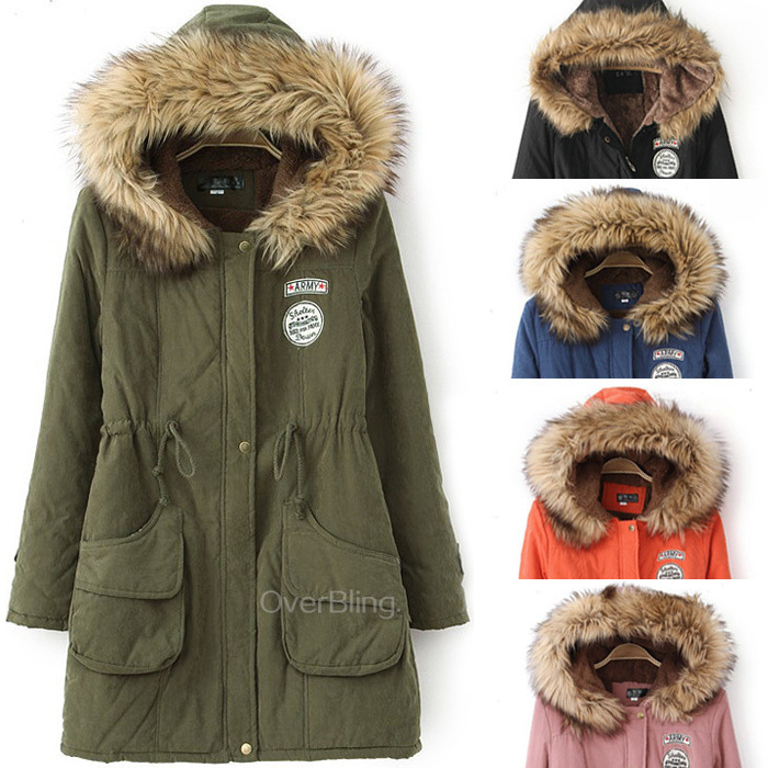 2015 Winter Womens Parka Casual Outwear Military Hooded Coat Winter Jacket Women Fur Coats Women Overcoat Woman Clothes(China (Mainland))