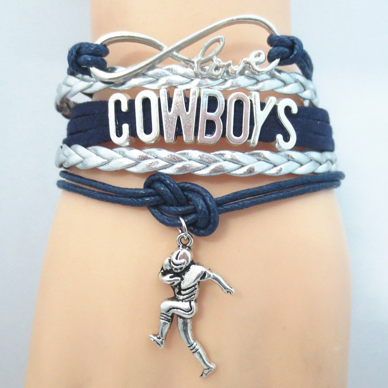 1pc/lot hot sale dallas cowboys football bracelets infinity love Dallas cowboys souvenir jewelry charm cowboys bangle(China (Mainland))