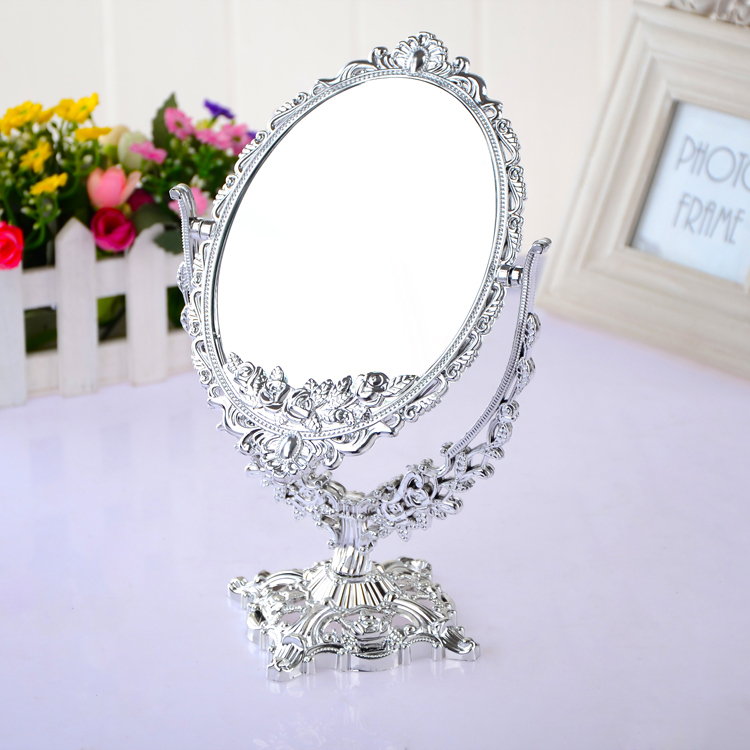 Oval vintage plastic painted Gold, silver mirrors dual size 3 times magnifying cosmetic makeup mirrors(China (Mainland))