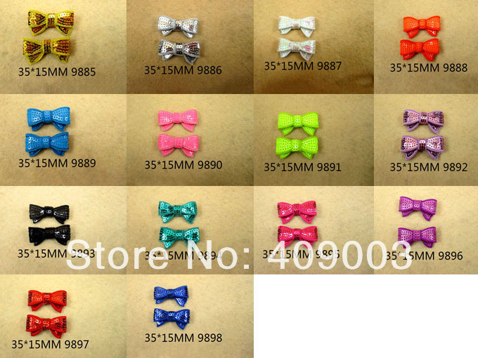 25Y9885 free shipping 35*15mm mini sequin bows 14colors all have 50pcs girls headwear accessories(China (Mainland))