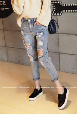 Women Ripped Jeans Woman Summer Autumn Denim Bleached Washed Capris Pockets Hole Pants Short Trousers Torn Jeans For Women(China (Mainland))