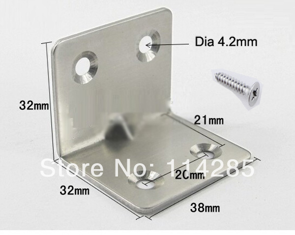 10pcs Furniture fittings Right Angle Stainless Steel Bracket 1.5mm Thickness(China (Mainland))