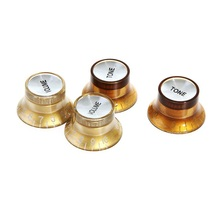 4PCS (2 Volume & 2 Tone) /set Speed Knobs Control Buttons Replacement Guitar Parts Golden Brown & Silver afinador guitarra(China (Mainland))