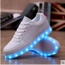 High quality 7 Colors LED Luminous Women&Men high top LED Shoes For Adults USB Charging Lights Shoes Black White chaussure femme(China (Mainland))