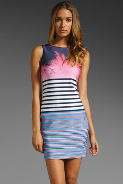 2015 European Brand Design High Quality Summer Fashion Runway Casual Dress Vintage Slim Abstract Print Bodycon