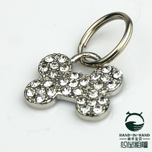Wholesale Free shipping 24pcs/lot Pet Dog Diamond Bone Pendant(China (Mainland))