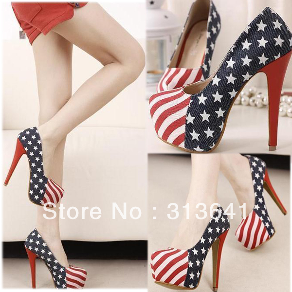 2012 ladies high heel dress shoes women platform pumps denim upper with American flag pattern size 35-49 wholesale(China (Mainland))