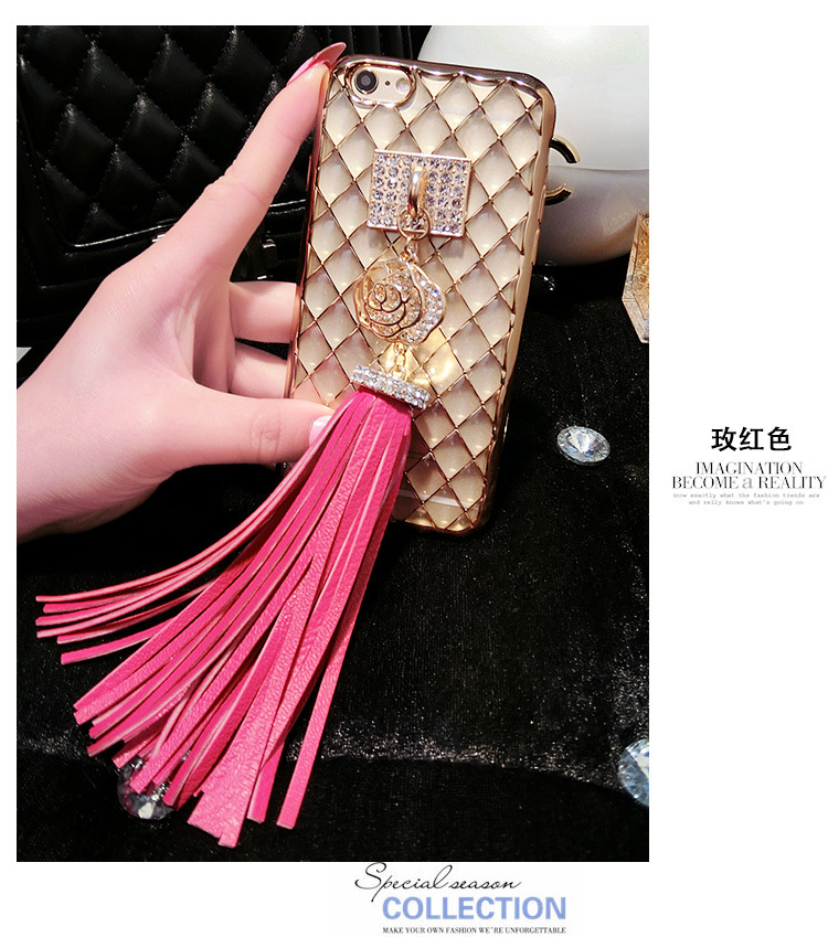 Phone Accessories Gold Leather Tassel Keychain For Women Crystal Rose Flower Key Chain Keyring porte cle chaveiros sleutelhanger(China (Mainland))