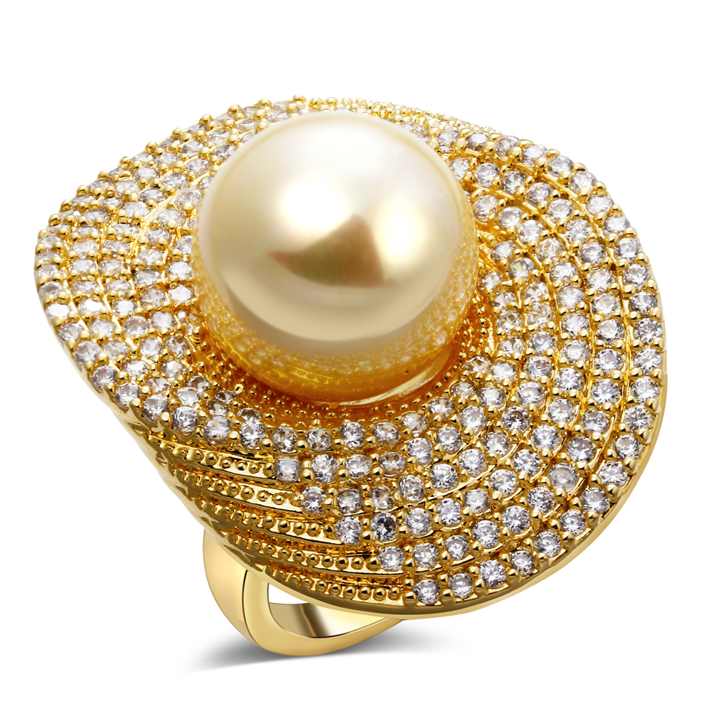 2016 natural shell pearl rings for women Ladies Rings wholesale jewelry lots ring Fashion ring pink gold plating(China (Mainland))