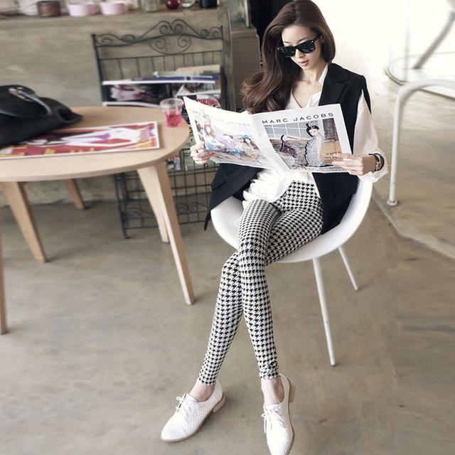 2013 summer houndstooth female ultra elastic hot-selling plaid skinny pants legging m0096