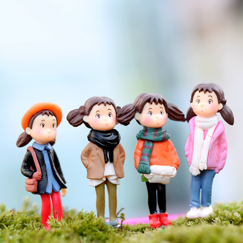 4Pcs New Decoden Resin Craft Crafts Decorations Miniature Cartoon Girl Gnome Terrarium Christmas Xmas Party Garden Gift K6639(China (Mainland))