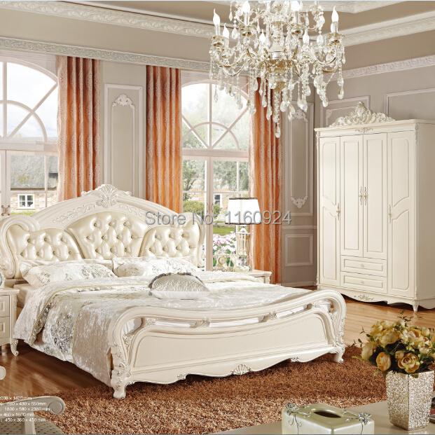 european style five pieces wood bedroom furniture set