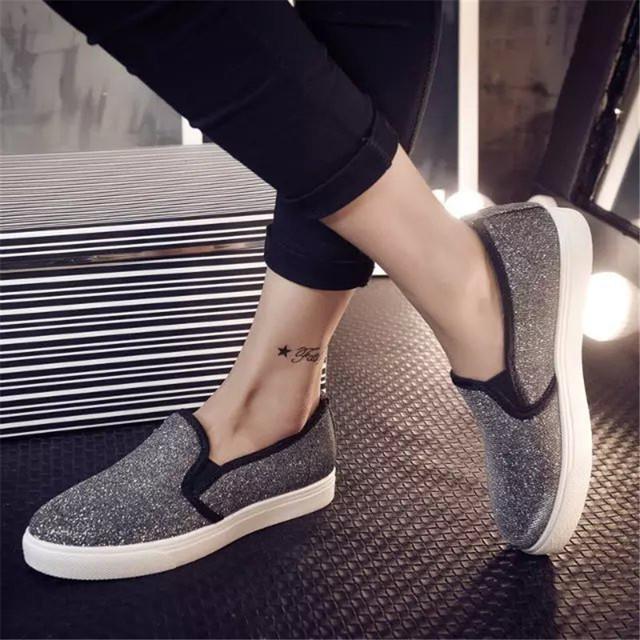 2016 35 - 40 лето весна обувь женщины холст блестками платформы обувь туфли-женщин мокасины Sapato Feminino ( PDX099-18 )