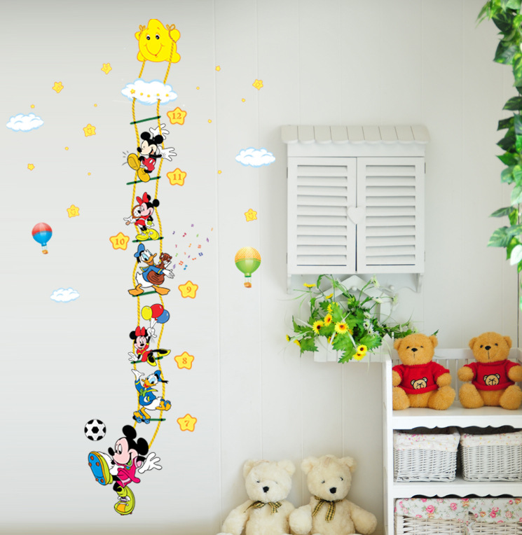 New catroon Mickey Mouse measure height sticker wall stickers for kids rooms growth chart Nursery stickers height ruler(China (Mainland))
