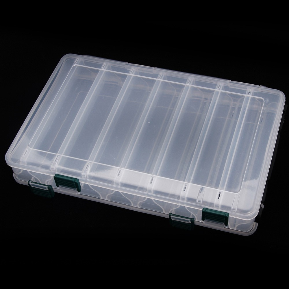 Double Sided 14 Compartments Plastic Fishing Lure Tackle Box Fishing Case