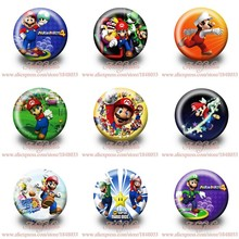 45pcs/Lot Super Mario Bros Party Supplies bags Accessories Buttons pins badges Pinbacks round brooch(China (Mainland))