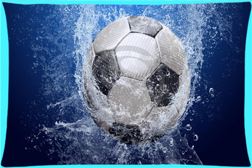 New Classic Soccer Ball Water and Fire Rectangle Pillowcases zipper Custom Pillow Case MORE SIZE SQ00626-HXL(China (Mainland))