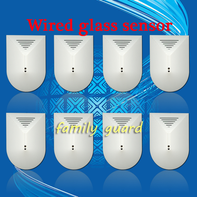 Free Shipping!8 Pcs/lot DC12V Glass Break Detector Sensor for Home Alarm Adjustable Sensitivity