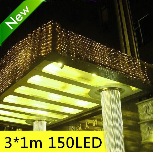 150LED 3m x 1M Xmas Garden eave decor lights, Wedding Party led backgroud icicle lights eight mode flash 5 pieces / lot(China (Mainland))