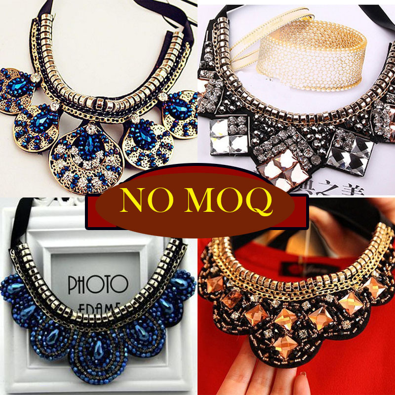 2015 trendy vintage fashion women False collar necklace handmade crystal beads steampunk choker necklace wedding accessories(China (Mainland))