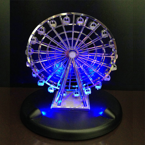 NEW with Package LED Lighting Base Educational DIY Toy 3D Metal Puzzle Flashing Ferris Wheel(China (Mainland))