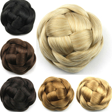 6 Colors Women Braid Buns Hairpieces Brown/ Blond/Black Hair Chignon Donut Roller Bun Perucas