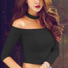 2016 New Sexy Slash Neck Pink Women Off Shoulder Top Short Slim T shirt Cotton Long Sleeve Crop Top American Apparel 501(China (Mainland))